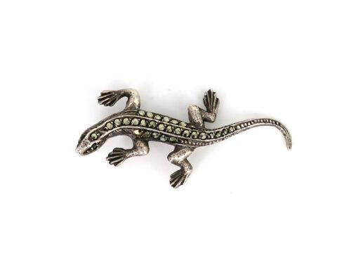 Antike Brosche aus dem Jahr 1925 besetzt mit Markasiten im Abbild eines Salamanders, Gekko oder Eidechse