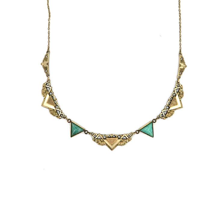 Kette als antikes Collier besetzt mit Türkisen aus dem Art Deco
