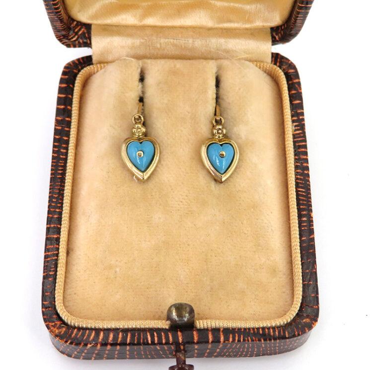 Zarte Goldohrringe aus 8 karat Gold aus der Epoche des Biedermeier mit Türkisen